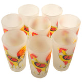 Gay Fad Mid Century Vintage Hand Painted Rooster Frosted Collins Glasses | The Hour