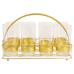 Vintage Gold Wrapped Collins Glass Caddy Set