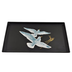 Vintage Couroc of Monterey Black Resin Tray With Seagull & Boat Inlay