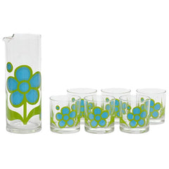 Mid Century Mod Vintage Colony Blue & Green Flower Cocktail Pitcher Set | The Hour Shop