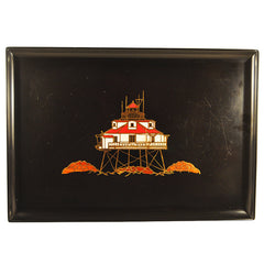 Vintage Couroc of Monterey Black Resin Red & White Lighthouse Tray