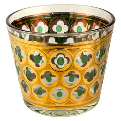 Vintage Gold and Green Cut Out Glass Ice Bucket