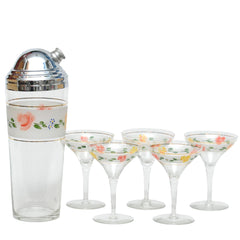 Vintage Hand Painted Flower Cocktail Shaker & Glasses Set | The Hour Shop