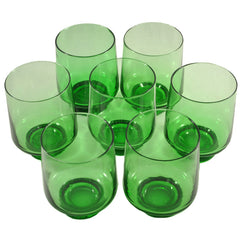 1970s Vintage Green Weighted Rocks Glasses