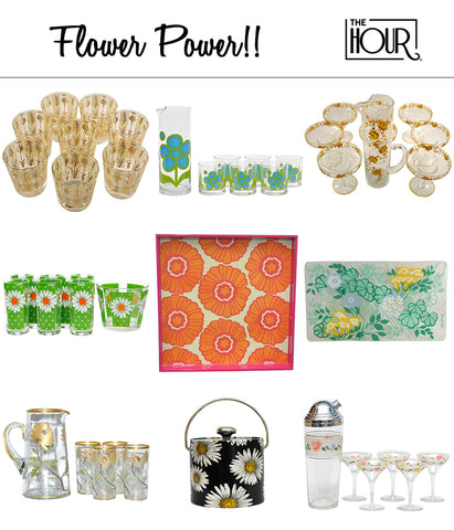 Flower Power Vintage & New Barware & Cocktail Glassware | The Hour Shop