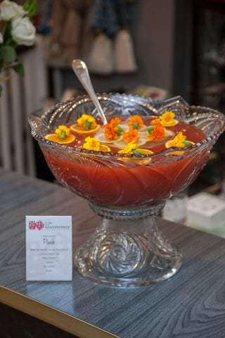 Welcome Punch in vintage crystal punch bowl at The Hour's 10th Anniversary Party