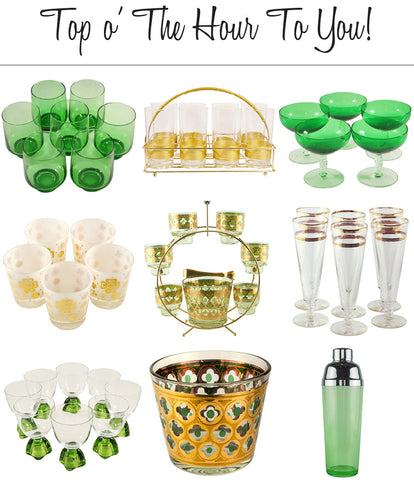 Vintage Green & Gold Glassware & Barware