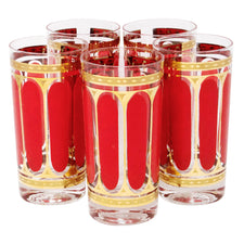 Vintage Fred Press Red and Gold Oval Collins Glasses | The Hour Shop