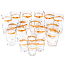 Vintage Gold Band Glasses Set | The Hour Shop