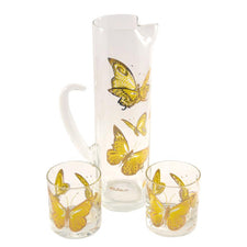 The Hour, Vintage Culver Butterflies Cocktail Pitcher Glass Set