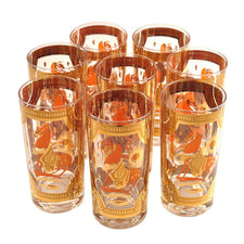 Fred Press Orange Trojan Horse Collins Glasses, The Hour Shop Vintage Cocktail Glasses