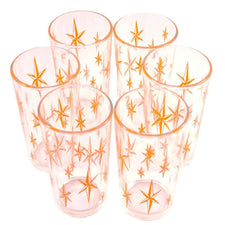 Orange Stars Tumbler Glasses | The Hour Shop Vintage