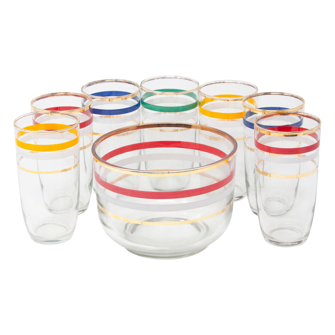 Vintage Multi Color Stripes Ice Bucket Set | The Hour Shop