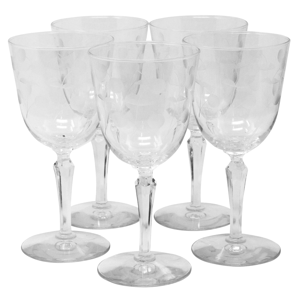 Vintage Etched Cherries and Stems Wine Glasses | The Hour Shop