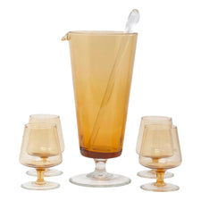 Vintage Mid Century Amber & Clear Cocktail Pitcher Set | The Hour