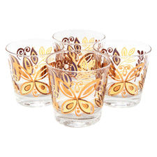 Vintage Gold Butterfly & Leaves Rocks Glasses | The Hour Shop