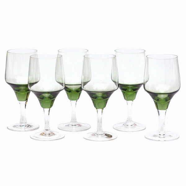 Mid Century Vintage Sasaki Green Wine Glasses, The Hour Shop