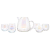 Vintage West Virginia Glass Draping Iridescent Cocktail Pitcher Set Front | The Hour Shop