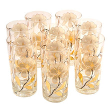 Vintage Culver Gold Magnolia Collins Glasses, The Hour Shop