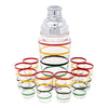 Vintage Hand Painted Multi-Color Rings Cocktail Shaker Set | The Hour Shop