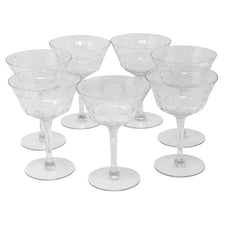 Vintage Paneled Etched Flowers and Leaves Cocktail Glasses | The Hour Shop