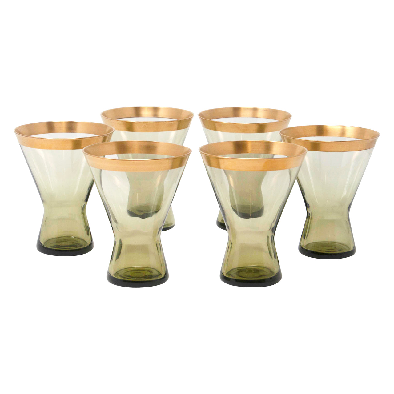 Vintage Gold Band Smoke Green Cocktail Glasses | The Hour