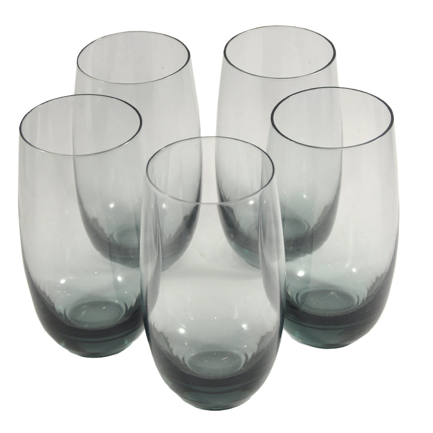 Rounded Base Smoke Glass Collins Glasses | The Hour Vintage