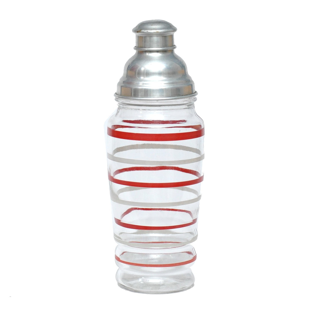 Vintage Red White Striped Glass Shaker | The Hour Shop