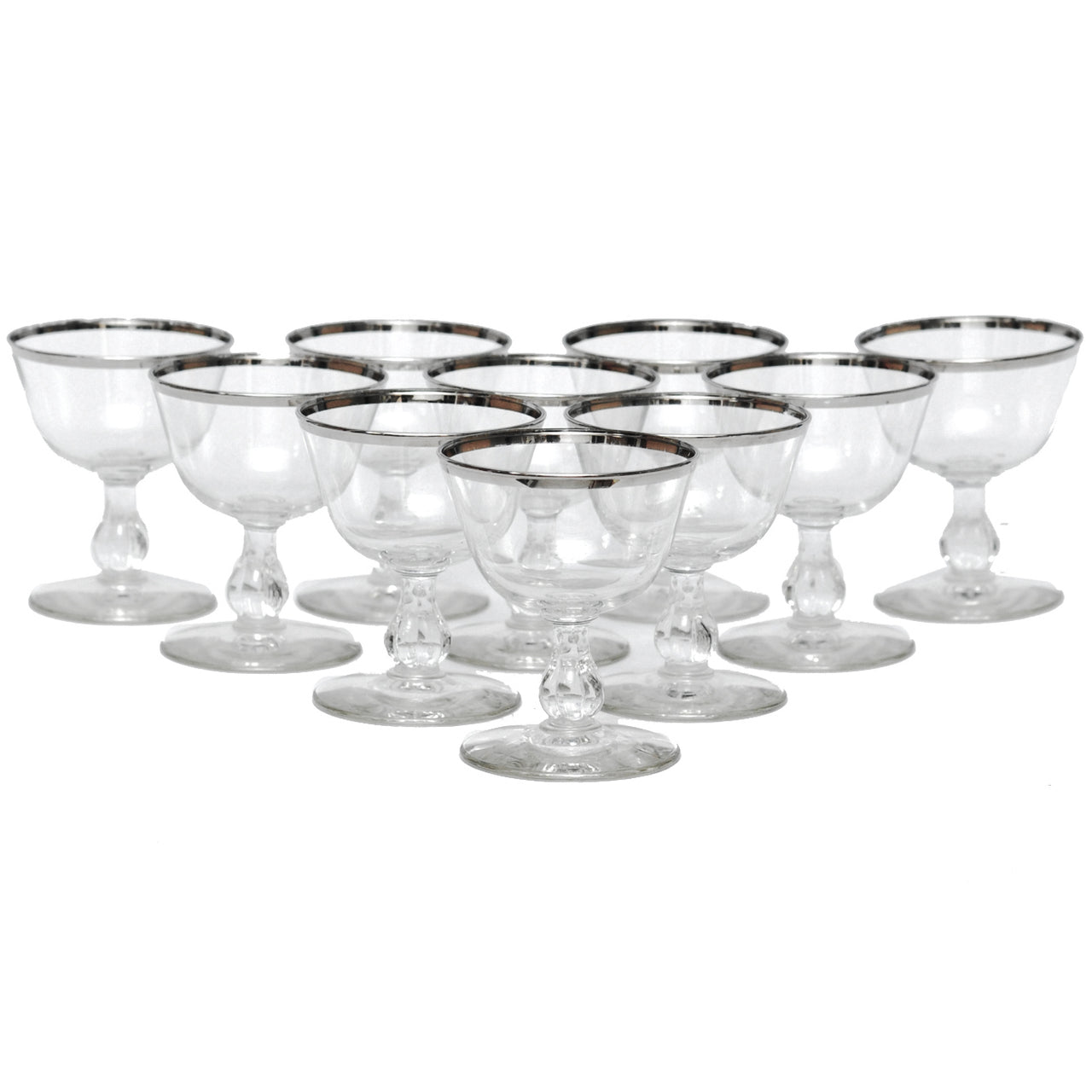 Vintage Mid Century Silver Rim Cocktail Glasses | The Hour Shop
