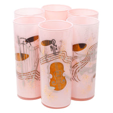 Federal Glass Pink Cased Glass Musical Collins Glasses
