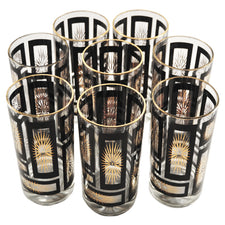 Vintage Black & Gold Starburst Collins Glasses | The Hour Shop