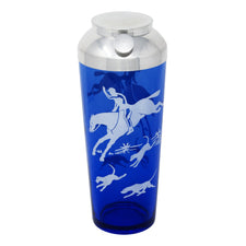 Vintage Hazel Atlas Cobalt Fox Hunt Cocktail Shaker | The Hour Shop