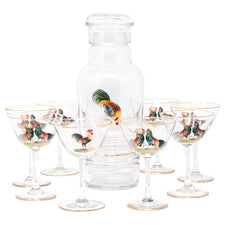 Vintage Hand Painted Rooster Decanter Set Front | The Hour Shop