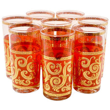 Culver Red & Gold Scroll Collins Glasses | Vintage Baroque Glass