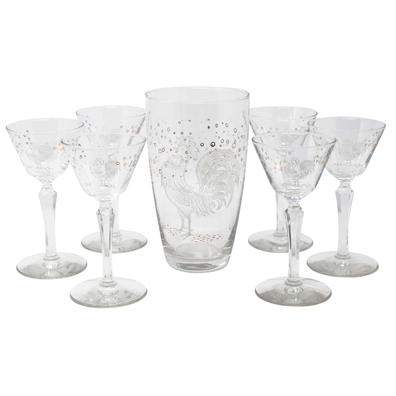 Vintage Mid Century White Rooster Mixing Glass Cocktail Set | The Hour