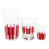 Vintage Red & White Vertical Stripes Cocktail Shaker Set Glass Sizes | The Hour Shop