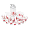 Vintage Red & White Vertical Stripes Cocktail Shaker Set Top | The Hour Shop