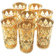 Vintage Culver Valencia Gold & Green Collins Glasses | The Hour Shop