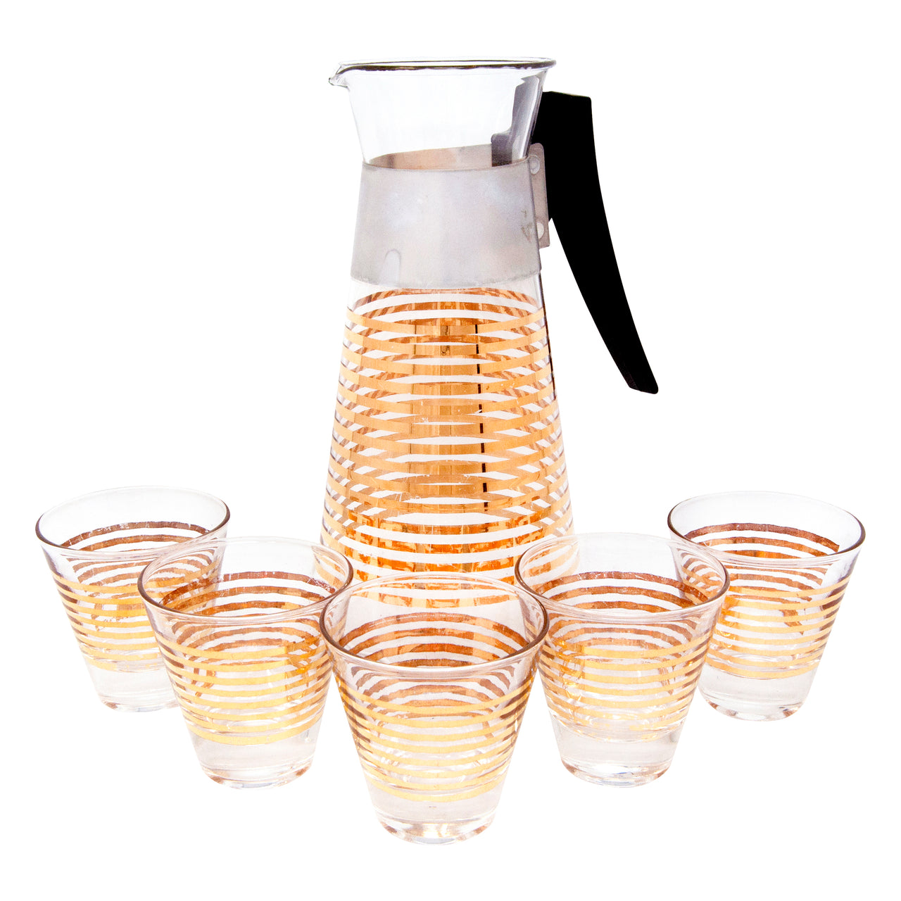 Vintage Gold Striped Pyrex Cocktail Pitcher Set | The Hour Shop