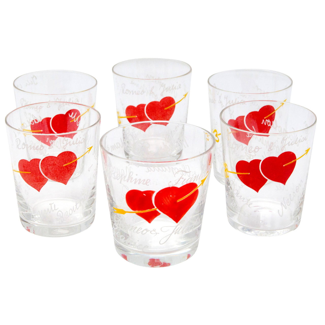 Hand Painted Red Hearts Arrow Pierced Old Fashioned Glasses | The Hour Shop