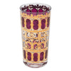 Vintage Culver Azure Cranberry Scroll Collins Glass | The Hour Shop