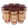 Vintage Culver Azure Cranberry Scroll Collins Glasses | The Hour Shop