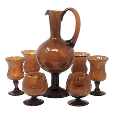 Vintage Brown Amber Hand Blown Cocktail Pitcher Set | The Hour