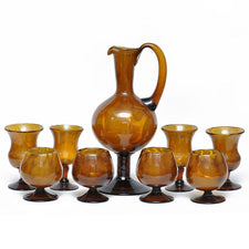 Vintage Hand Blown Amber Glass Pitcher Set, The Hour