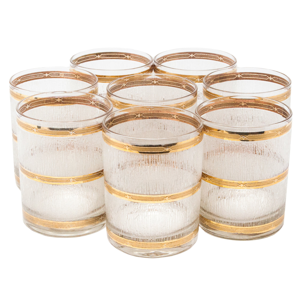 Vintage Triple Gold Band Double Rocks Glasses | The Hour Shop