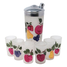 Vintage Hand Painted Fruit  Glass Cocktail Shaker Set | The Hour