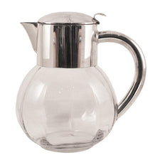 Vintage Silver Top Paneled Glass Pitcher, The Hour Shop