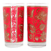 VIntage Libbey Red Flowers Collins Glasses design | The Hour Shop