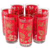 VIntage Libbey Red Flowers Collins Glasses | The Hour Shop