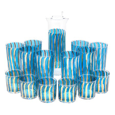 Vintage Blue & Gold Wavy Stripes Cocktail Pitcher Set | The Hour Shop